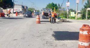 Ayuntamiento de Puebla realiza bacheo en calles de Xonacatepec