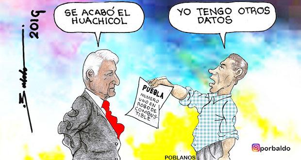 Caricatura: Puebla, con diferentes cifras en huachicol