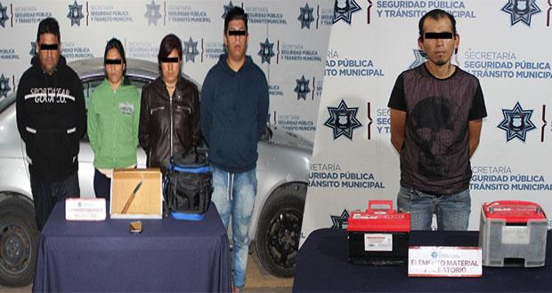 Detienen a cinco por robo en Bosques de Amalucan y San Alejandro