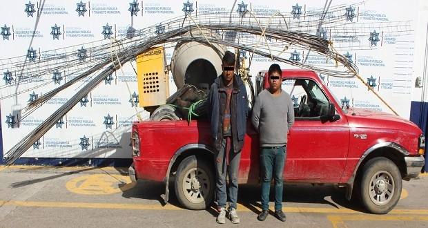 Ssptm detiene a dos por robar material de construcción