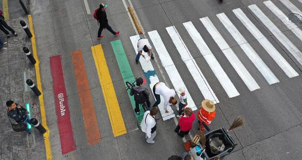 Presentan queja en Conapred por pintar de blanco paso con bandera gay
