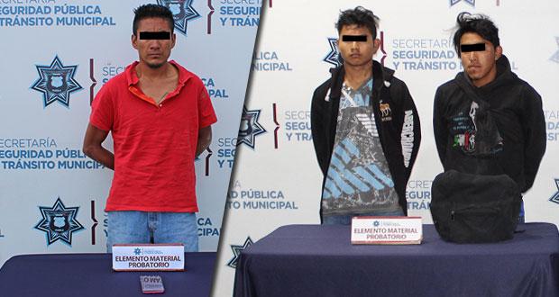 Caen 3 sujetos por robo a transeúntes en habitacional San Ramón