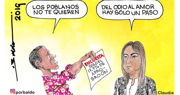 Caricatura: Claudia Rivera entre el odio y el amor