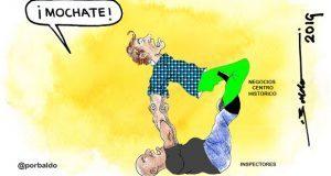 Caricatura: Moches a inspectores por las buenas