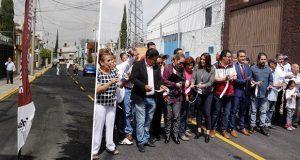 Comuna de Puebla pavimenta vialidad en colonia Universidades