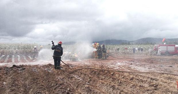Liquidan fuego controlado e inician sellado de fuga en Acajete: PC