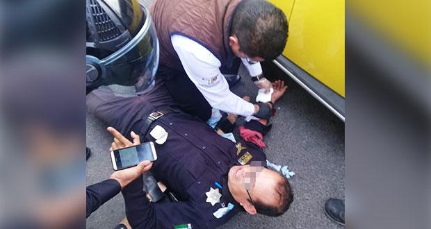En bulevar Valsequillo, asaltan restaurante Tagers y hieren a policía