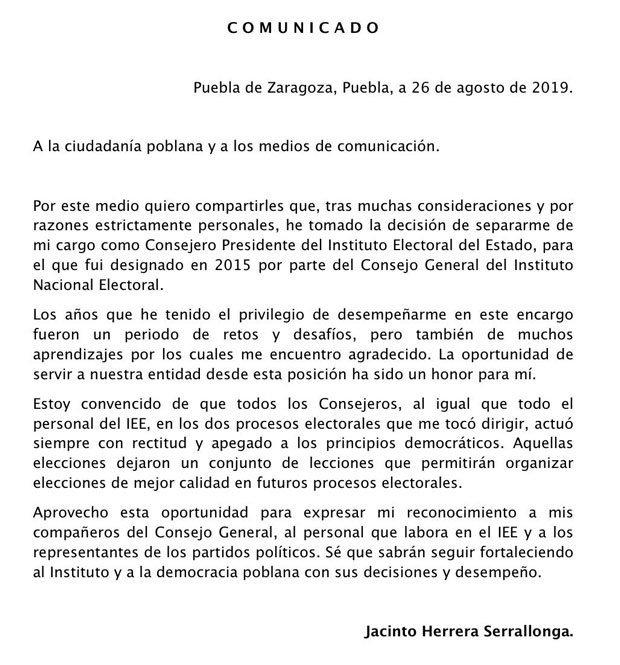 Jacinto Herrera renuncia al IEE tras acusaciones de fraude electoral