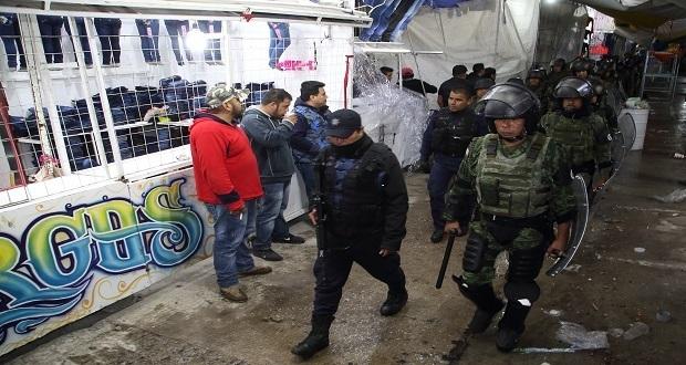GN y SSP implementan operativo en tianguis de Texmelucan por disputas y robos