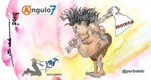 Caricatura: Morena quiere aplicar la ley del garrote a Sinhue