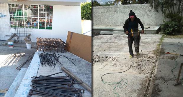 Comuna de Piaxtla avanza en construcción de techado para preescolar