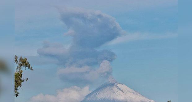 Popocatépetl, con explosiones menores y ligera caída de ceniza