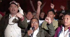Sindicalizados de Pemex de manifiestan frente a Palacio Nacional