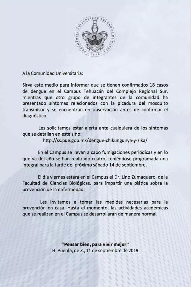 Tratadora abandonada por BUAP en Tehuacán, foco de dengue: alumnos a rector