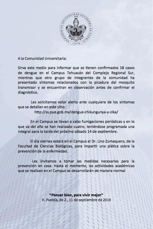 BUAP confirma 18 casos de dengue en campus de Tehuacán