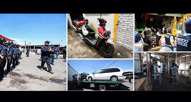 En operativo de Mercado Unión, también aseguran tres motos y una camioneta