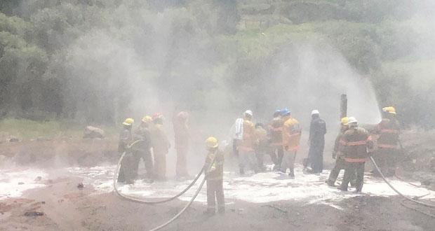 Tras 2 días, sofocan incendio por fuga de gas en Cuautlancingo