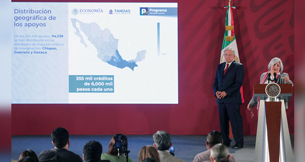 Gobierno Federal ha entregado 355 mil créditos de 6 mil pesos
