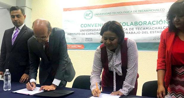 Universidad de Tecamachalco firma convenio con el Icatep