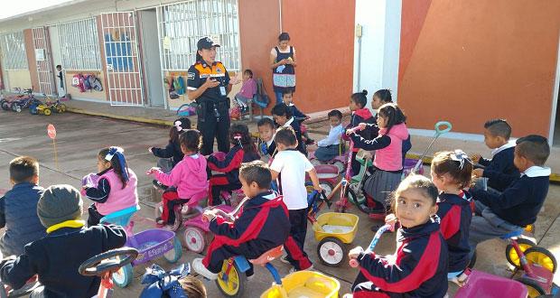 Policía de Ocoyucan da taller de educación vial a niños de preescolar