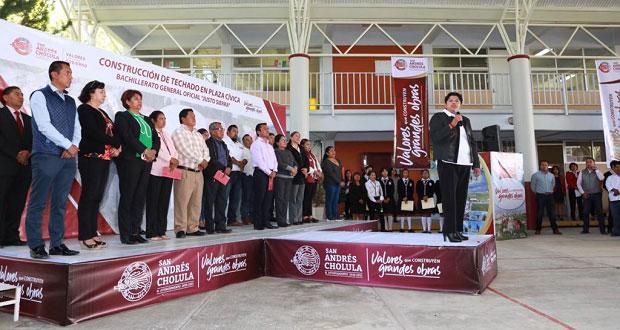 San Andrés entrega domo a prepa de Cacalotepec; invierte 2 mdp