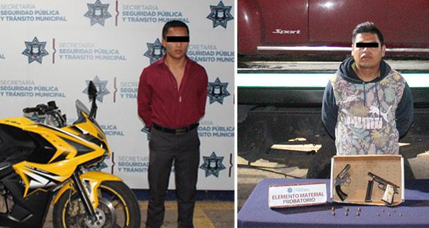 Detienen a uno por robar moto y a otro portando armas sin licencia