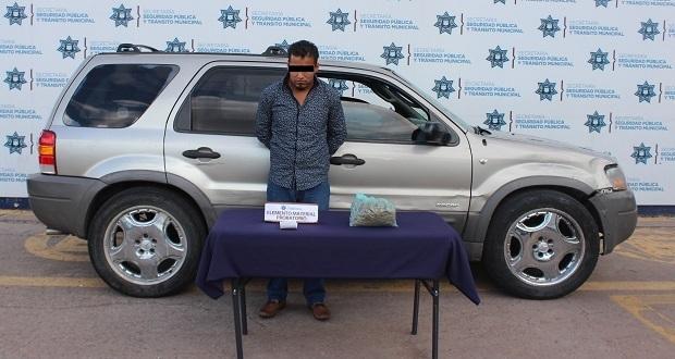 Ssptm detiene en CH a presunto asaltante; llevaba droga