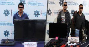 Ssptm detiene a 3 sujetos y 2 menores por robo en Puebla capital