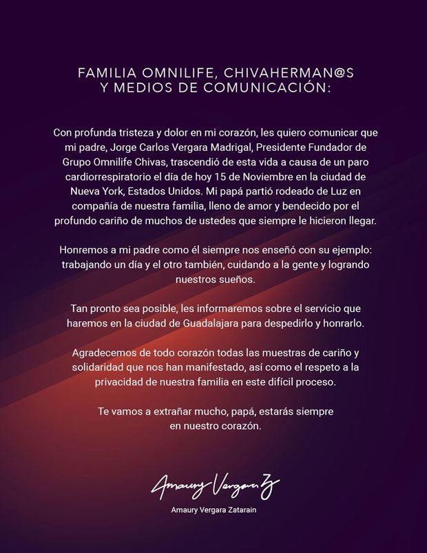 A los 64 años, muere Jorge Vergara, dueño de Chivas