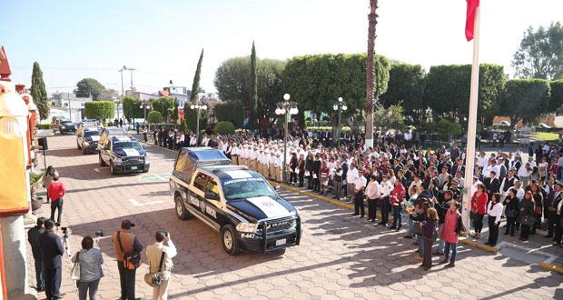 Ayuntamiento de San Andrés entrega 19 nuevos vehículos a la Ssptm