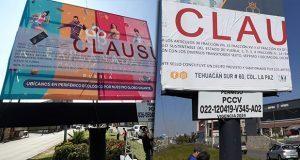 Gobierno estatal clausura 2 espectaculares en Puebla capital