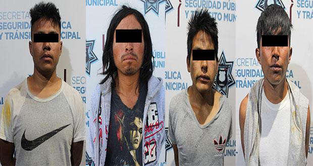 Detienen a probable homicida y a tres asaltantes de Oxxo en Puebla