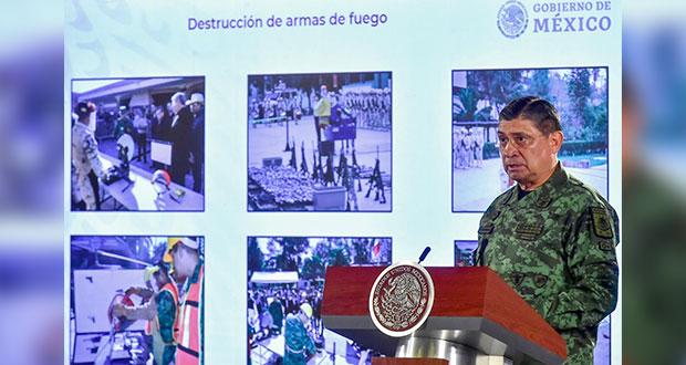 En Puebla, Sedena destruye 467 armas; busca 1.6 millones en país