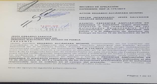 Alcántara amplía demanda en TEEP contra elección del PAN municipal