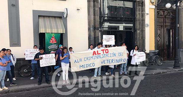 """Veterinarios poblanos protestan contra ley que los """"criminaliza"""""""