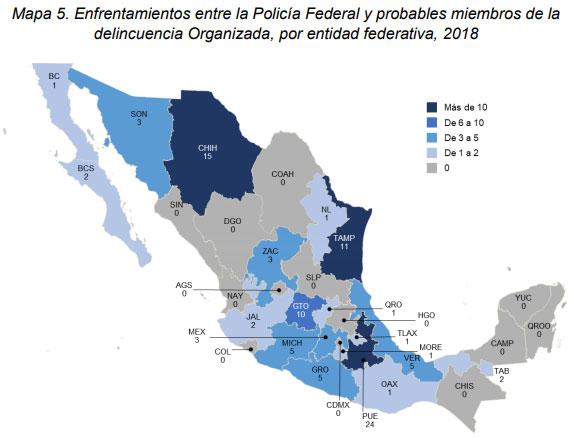 Puebla supera a Tamaulipas en enfrentamientos entre federales y delincuentes