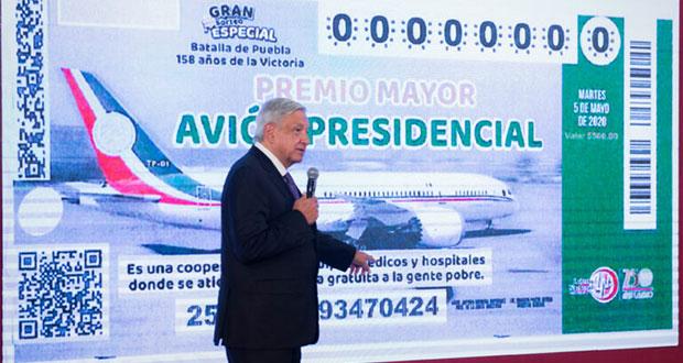"""AMLO propone rifa de avión presidencial el 5 de mayo y """"cachito"""""""