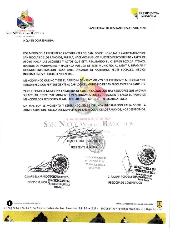 Comuna de San Nicolás de los Ranchos rechazan ir por revocación de edil