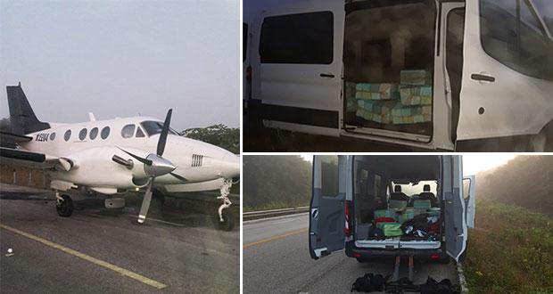 Tras balacera, Sedena asegura avioneta con cocaína en Q. Roo