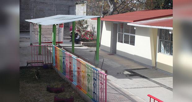Tepexi construye aula en preescolar para beneficio de 190 niños