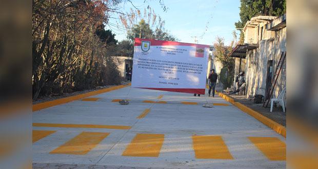 Tepexi pavimenta calle Divina Providencia; era promesa de campaña