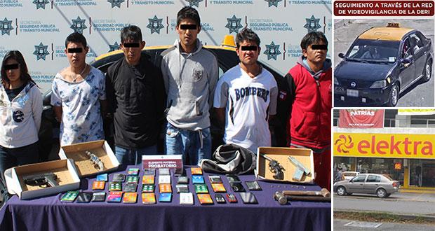 Policías municipales detienen a seis por robo a Elektra de Vista Alegre
