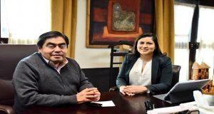 Claudia Rivera y Miguel Barbosa hablan sobre seguridad en reunión