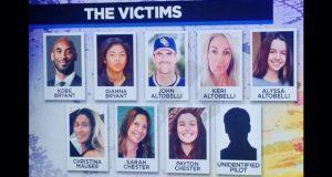 Identifican a las 9 víctimas del accidente donde murió Kobe Bryant