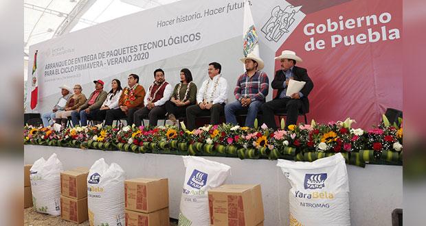 Gobierno apoya a 3,357 agricultores de Serdán con paquetes tecnológicos