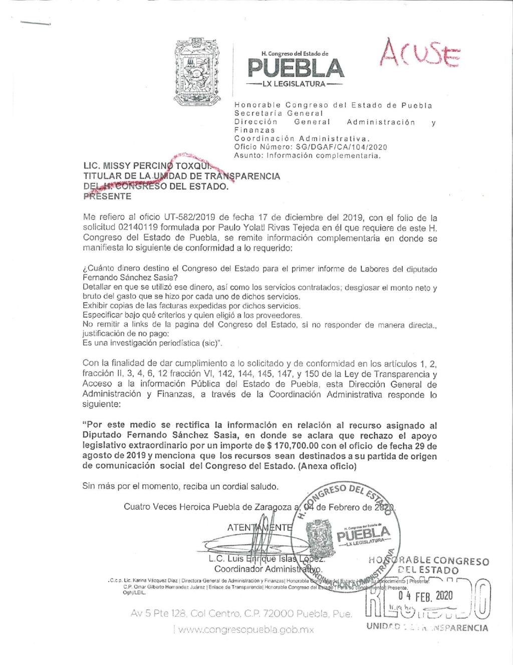 Diputado Sánchez rechaza 170 mp de apoyo para informe de actividades