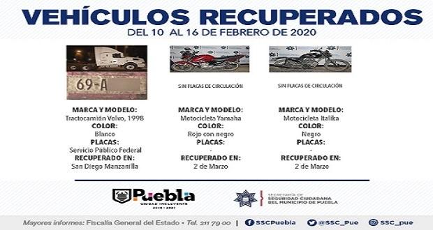 En una semana, SSC recupera 11 vehículos con reporte de robo.