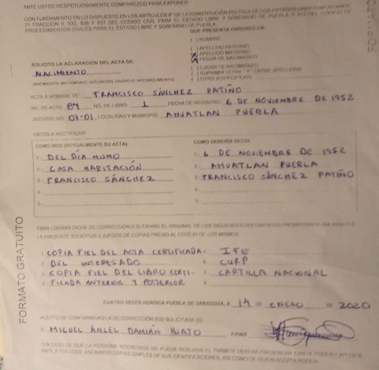 Pese a cuotas, Registro Civil de Puebla da actas con errores y vuelve a cobrar