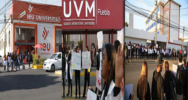 UVM, IEU, MAP y Comcipe se suman a protesta por homicidio de estudiantes
