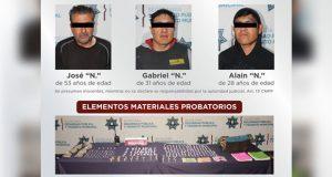 SCC detiene a tres presuntos narcomenudistas y asegura 200 dosis